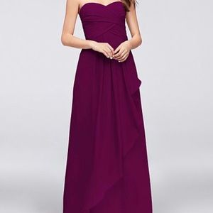 Strapless Crinkle chiffon bridesmaid/prom dress